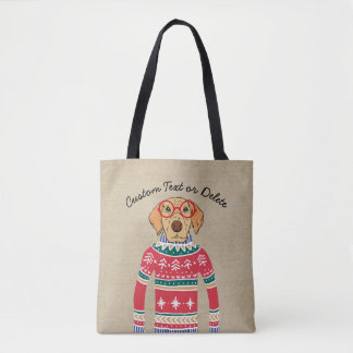 Funny Dog Lover Dog Wearing Ugly Christmas Sweater Tote Bag