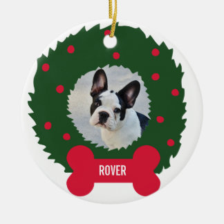 Funny Dog Lover's Christmas Wreath With Dog Photo Round Ceramic Decoration