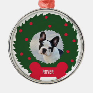 Funny Dog Lover's Christmas Wreath With Dog Photo Silver-Colored Round Decoration
