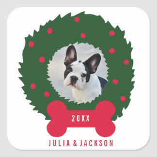 Funny Dog Lover's Christmas Wreath With Dog Photo Square Sticker