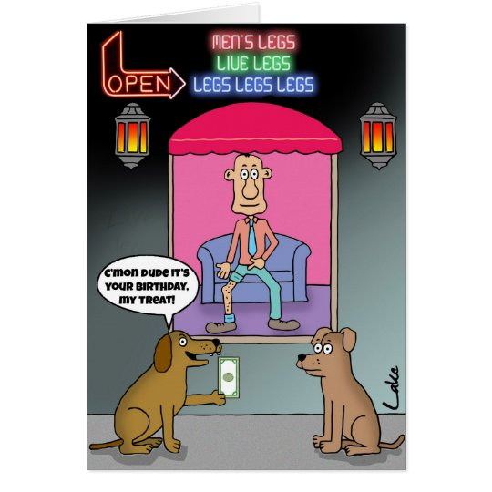 Funny Dog Lovers Red Light District Birthday Card
