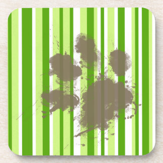 Funny Dog Owner Gift; Green Stripes Drink Coasters