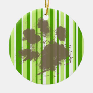 Funny Dog Owner Gift; Green Stripes Christmas Tree Ornaments