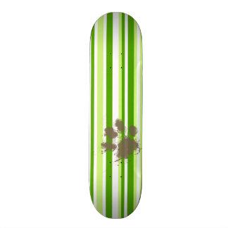 Funny Dog Owner Gift; Green Stripes Custom Skateboard
