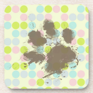 Funny Dog Owner Gift; Pastel Colors, Polka Dot Beverage Coaster