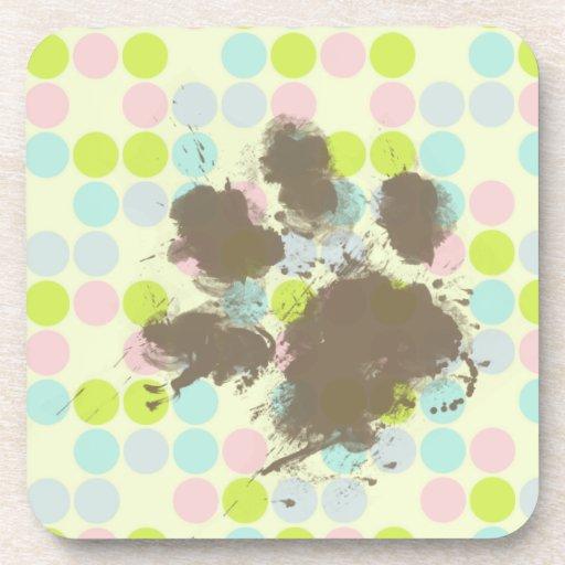 Funny Dog Owner Gift; Pastel Colors, Polka Dot Beverage Coaster