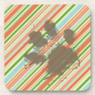 Funny Dog Owner Gift; Peach & Forest Green Drink Coaster