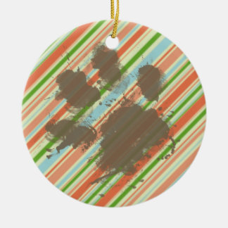 Funny Dog Owner Gift; Peach & Forest Green Christmas Tree Ornaments