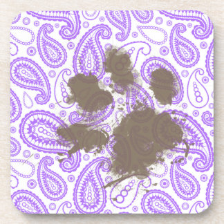 Funny Dog Owner Gift; Purple Paisley Pattern Drink Coasters