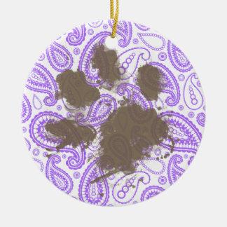 Funny Dog Owner Gift; Purple Paisley Pattern Round Ceramic Decoration