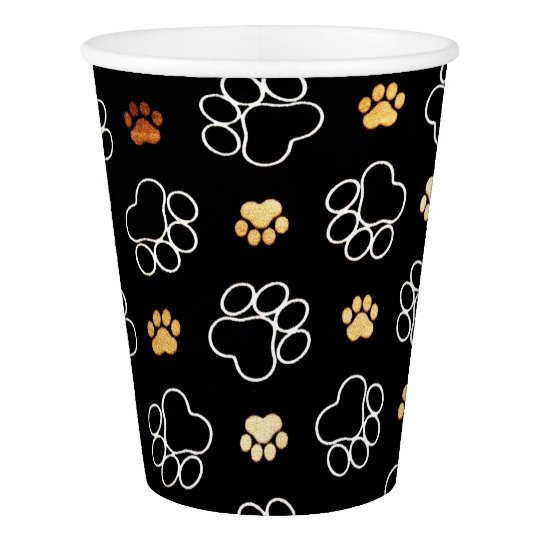 Funny Dog Pawprints On Black, Paper Cups