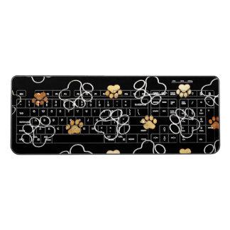 Funny Dog Pawprints On Black, Wireless Keyboard