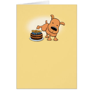 Funny Dog Peeing on Birthday Cake Greeting Card