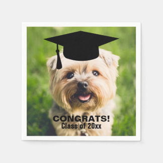 Funny Dog Photo Graduation Personalized Class of Paper Napkin