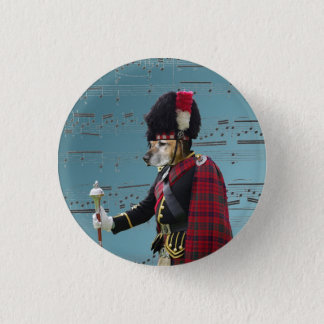 Funny dog pipe major 3 cm round badge