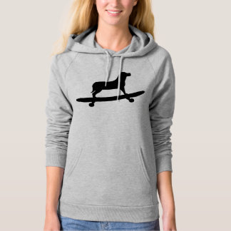 Funny Dog Skateboard Hoodie for Women