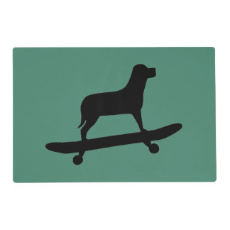 Funny Dog Skateboarding - Dog Themed Placemats Laminated Place Mat