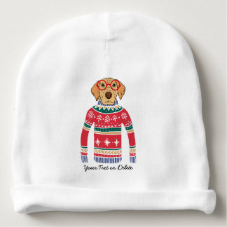 Funny Dog Wearing Glasses, Ugly Christmas Sweater Baby Beanie