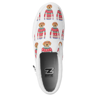 Funny Dog Wearing Glasses, Ugly Christmas Sweater Slip On Shoes