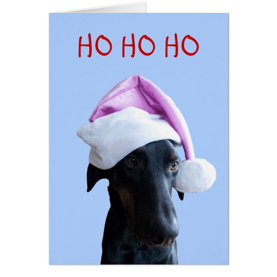Funny dog with pink Santa Hat Christmas card