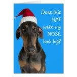 Funny dog with Santa Hat Christmas card