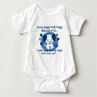 funny doggy, lovely doggy, little ball of fur baby bodysuit
