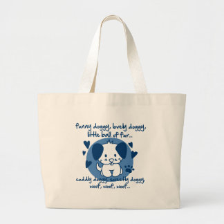 funny doggy, lovely doggy, little ball of fur jumbo tote bag
