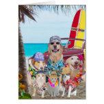 Funny Dogs/Cats Hawaiian/Surfer Birthday Greeting Card