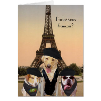 Funny Dogs French Birthday Greeting Card