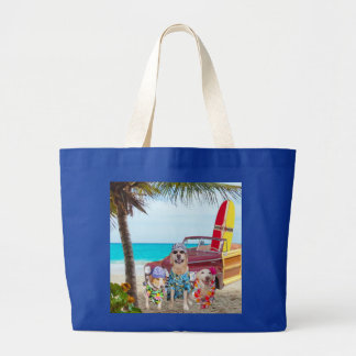 Funny Dogs/Lab/Hound at the Beach Large Tote Bag