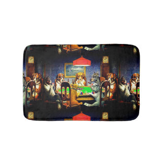 Funny Dogs Playing Poker Bath Mat