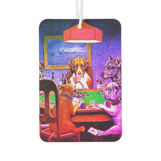 Funny Dogs Playing Poker Car Air Freshener