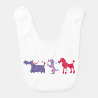 Funny dogs with lead bib