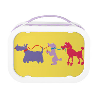 Funny dogs with lead lunch box