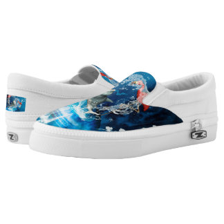 Funny dolphin jumping by a heart made of water printed shoes