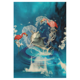 Funny dolphin jumping by a heart made of water wood poster