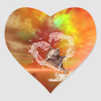 Funny dolphin jumping by a heart heart sticker