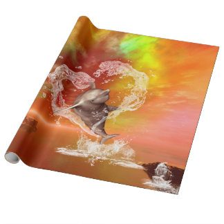 Funny dolphin jumping by a heart wrapping paper