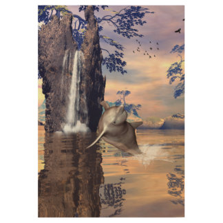 Funny dolphin jumping in a fantasy land wood poster