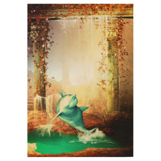 Funny dolphin jumping in a fantasy world wood poster