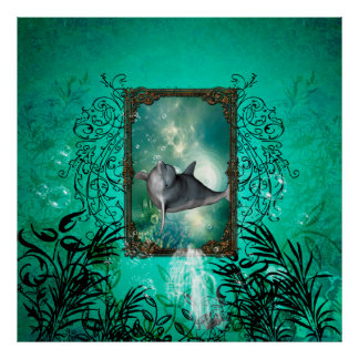 Funny dolphin jumping out of a frame poster