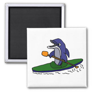 Funny Dolphin Kayaking Square Magnet