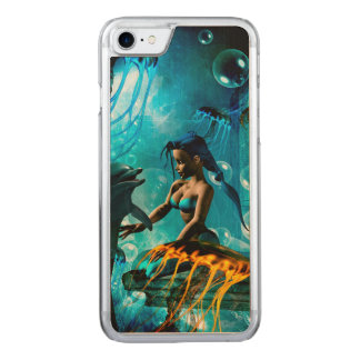 Funny dolphin playing with cute mermaid carved iPhone 8/7 case