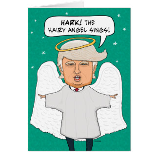 Funny Donald Trump Lookalike Hairy Angel Christmas Greeting Card