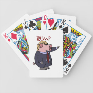 Funny Donald Trump Pig Political Cartoon Bicycle Playing Cards