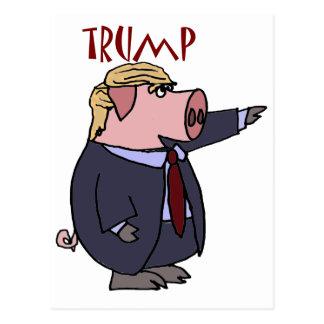 Funny Donald Trump Pig Political Cartoon Postcard
