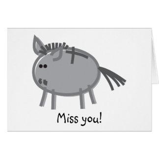 Funny Donkey on White Greeting Card