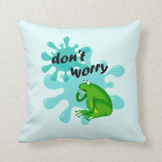 Funny Dont Worry Be Hoppy Frogs Kids Pillow