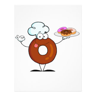 funny donut donut chef cartoon character 21.5 cm x 28 cm flyer