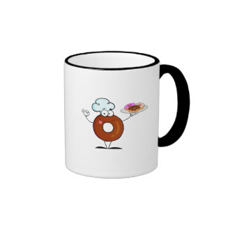 funny donut donut chef cartoon character coffee mugs